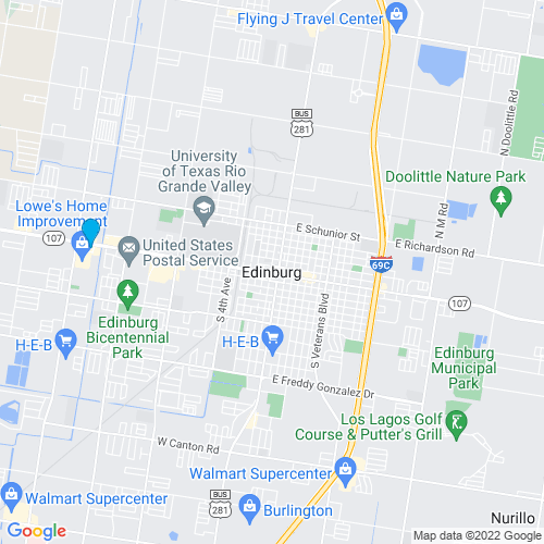 Map of Edinburg, TX